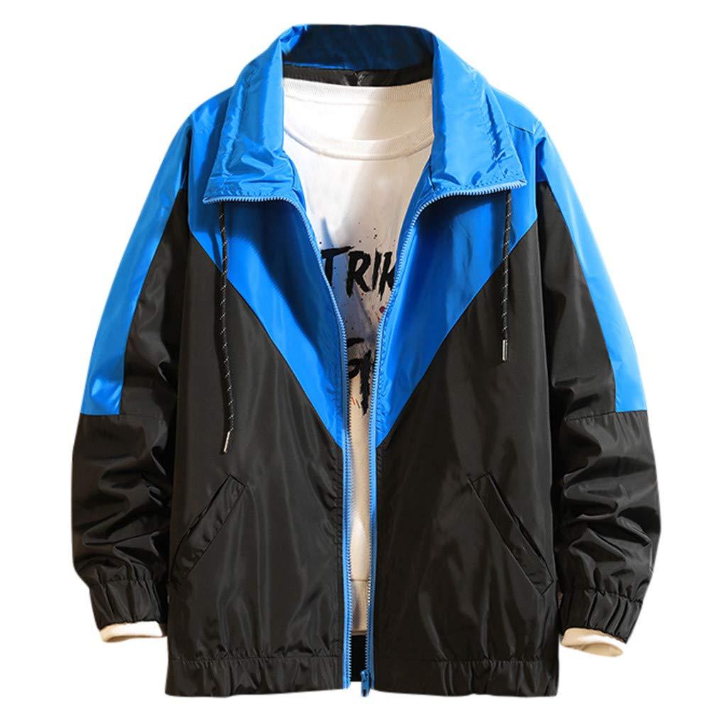 Sagton Men's Casual Jackets Patchwork Slim Fit Sports Running Long Sleeve Outwear Motorcycle Coat Blue L by Sagton-Men Coat