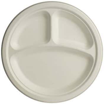 Brheez 9 inch Heavy Duty 3 Compartment Plates 100% Natural Sugarcane Biodegradable Compostable Bagasse  sc 1 st  Amazon.com & Amazon.com: Brheez 9 inch Heavy Duty 3 Compartment Plates 100 ...