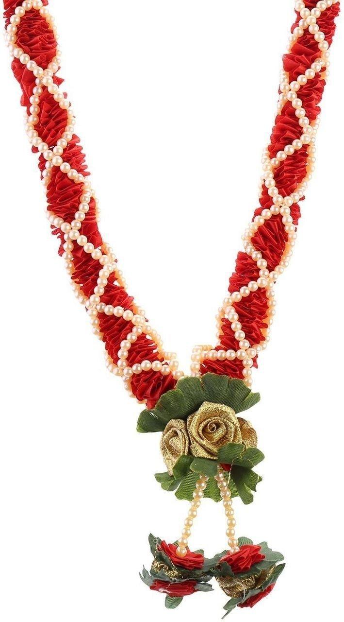 Decoration Craft Fabric & Plastic Beads Garland (48 Cm+Ribbon) (Red)