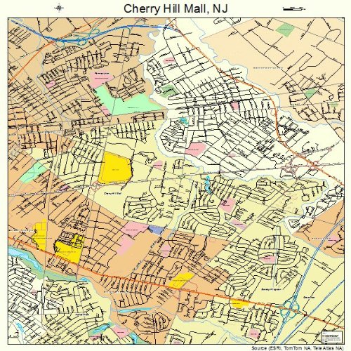 Large Street & Road Map of Cherry Hill Mall, New Jersey NJ - Printed poster size wall atlas of your home - Hill Cherry Jersey New Mall