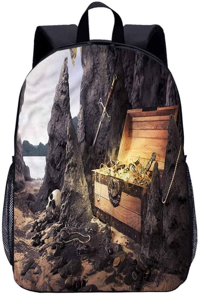 "Fantasy 17"" School Backpack,Treasure Chest in Cave Laptop Backpack for Kids"