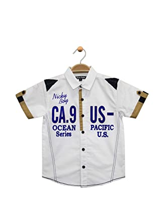39c71603 Terry Fator Boy's Casual Printed Cotton Short Sleeve Shirt - White:  Amazon.in: Clothing & Accessories