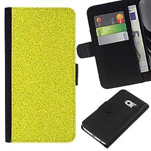 For Samsung Galaxy S6 EDGE Case , Pattern Grain Bling Rich Yellow - la tarjeta de Crédito Slots PU Funda de cuero Monedero caso cubierta de piel