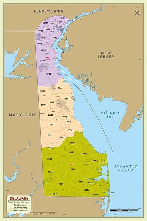 Amazon.com : Delaware County with Zip Code Map (36