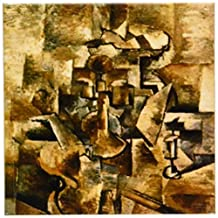 3dRose cst_61847_3 Picasso Painting Violin N Candlestick Ceramic Tile Coasters, Set of 4