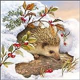 Ambiente Cena Tovaglioli / partito ca.33x33 Hedgehog In Snow - Christmas - Natale - Iverno - Perfetto Come Regalo e Decorazione Da Tavolo