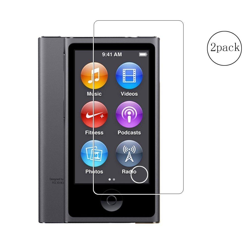 Toshion(2パック)iPod nano 7th 8th Generationスクリーンプロテクター、Full Coverage 9H硬度強化ガラススクリーンプロテクター、iPod Nano 7 8用防指紋防止バブルフリークリスタルクリア   B073QWGJRT