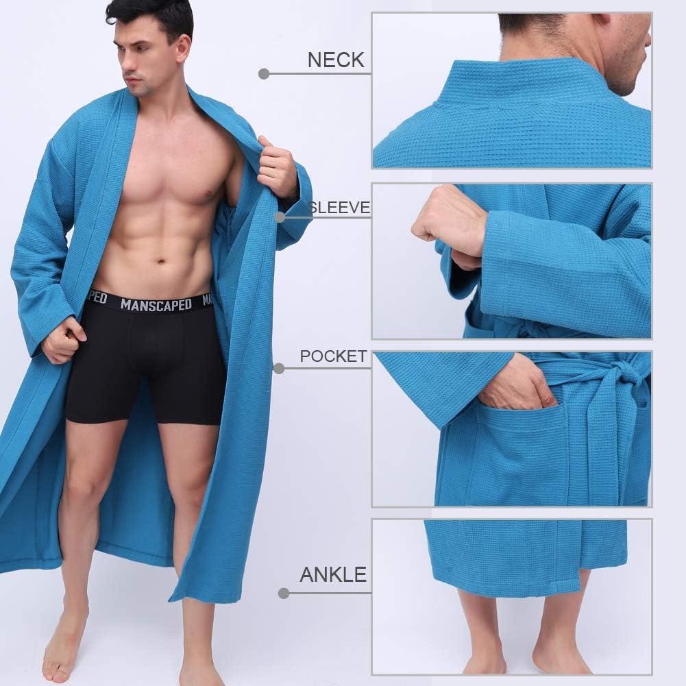 KEMUSI 100/% Cotton Herringbone Mens Soft Spa Long Waffle Bathrobe,Comfy Warm Nightdress