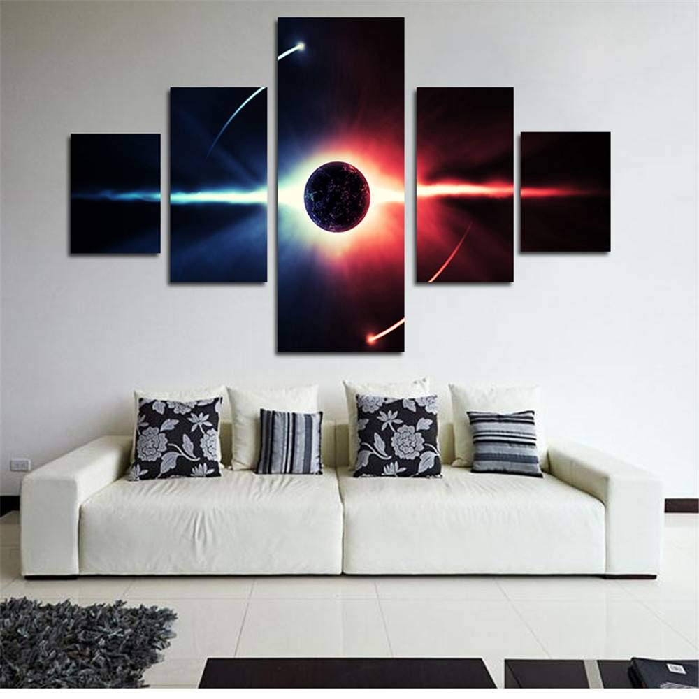 BFY 5pcs Modern Huge Wall Art Oil Painting On Canvas Sun Unframed Room Decor