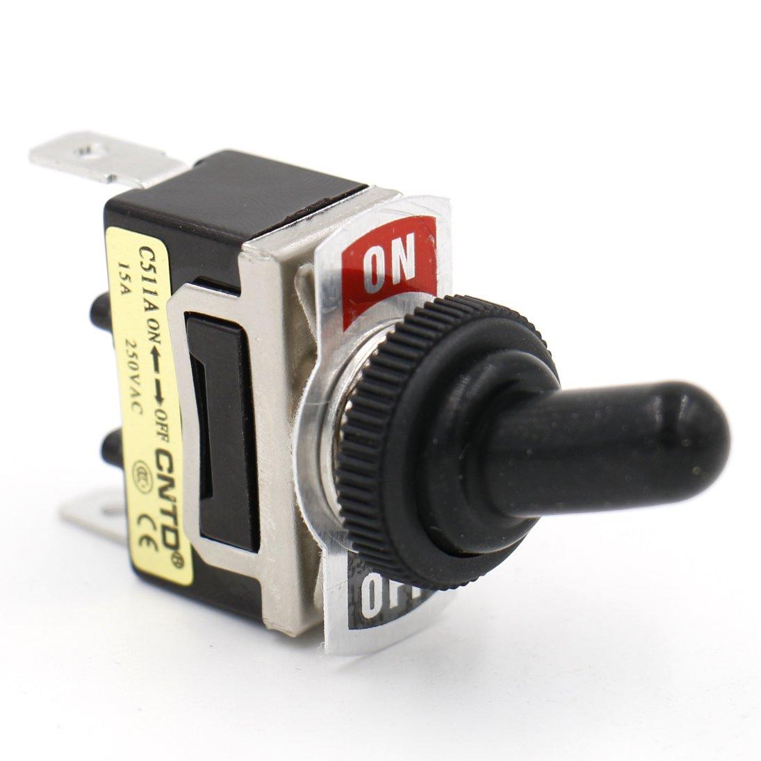 heschen Metal Toggle Interruptor SPST mantiene ON//OFF 2/Posici/ón 15/A 250/VAC 2/Tab Terminal CE con funda impermeable