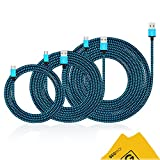 SEGMOI(TM) 3Pack 3FT 6FT 10FT Nylon Braided Micro USB Data Sync Wire Cord Fast Charging Cables For Samsung Galaxy S6 Edge S4 Note 4 5 Tab Moto G X HTC LG Huawei Xiaomi Android Mobile Phone (Blue)