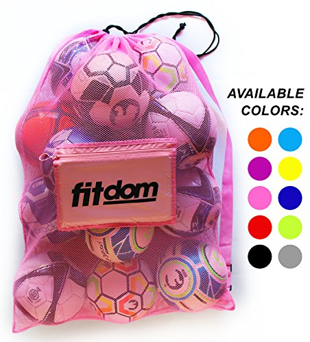 ty Soccer Ball Mesh Bag for Sports, Beach and Swimming Gears. Adjustable Shoulder Strap Made to Fit Adults and Kids. Secure Side Pocket for your Personal Item. 40x30 IN (Pink) (Nylon Tennis Jersey)