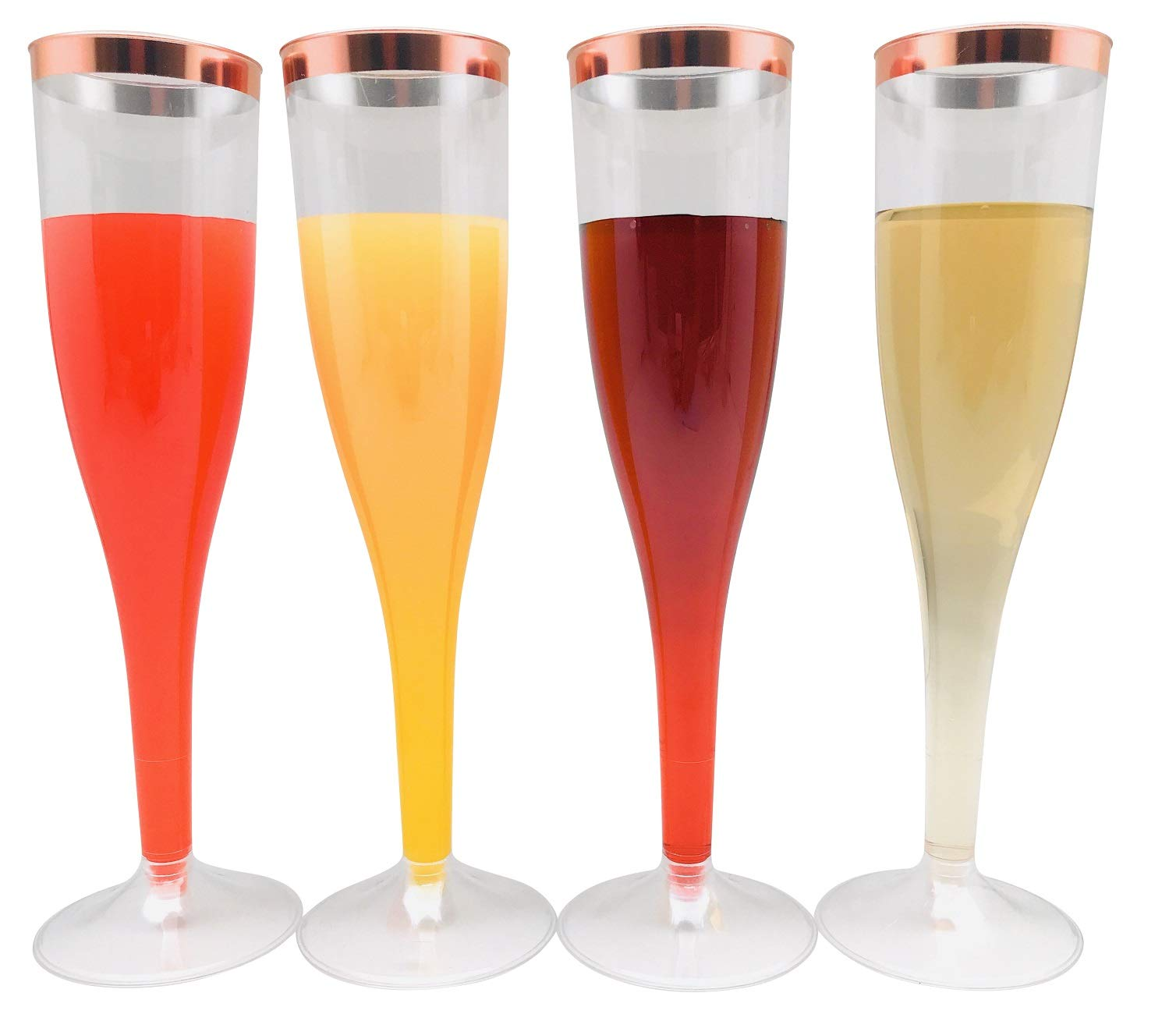 30pc Clear Plastic With Rose Gold Glitter Classicware Glass Like Champagne Wedding Parties Toasting Flutes