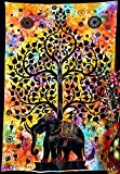 Popular Handicrafts Tree of Life Psychedelic Tapestry Wall Hangings Elephant Tree of life Tapestry wall art Multi tie dye 54