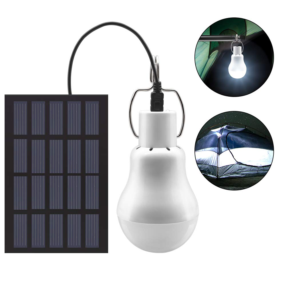 GreeSuit Solar Powered Shed Led Light Bulb Portable USB Charge Lantern Lamp Spotlight Indoor Office Kitchen Reading with Solar Panel for Outdoor Hiking Camping Tent Fishing Lighting by GreeSuit