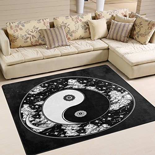 ALAZA Black Chinese Yin Yang Artwork Area Rug Rugs for Living Room Bedroom 7' x - Rug Yang Yin
