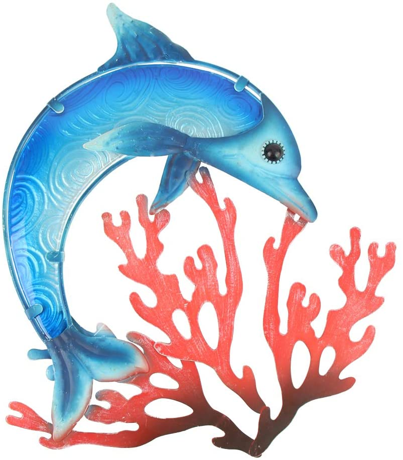 HONGLAND Metal Dolphin with Coral Wall Decor Indoor Art Sculpture Hanging Glass Decorations Blue for Home Garden Bedroom