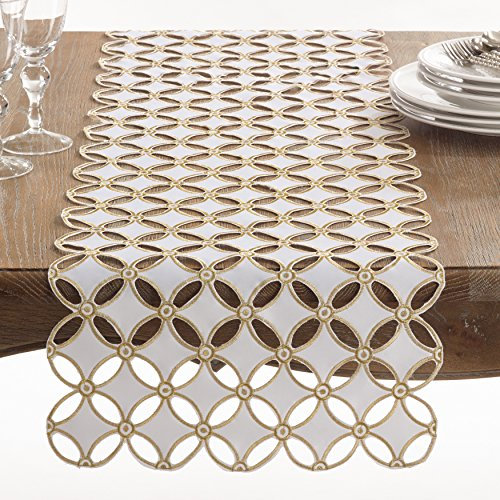 Fennco Styles Buche de Noel Collection Holiday Cutwork Design Table Runner - 16
