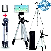 MoohMaya™ Tripod with Fully Adjustable & Foldable Stand with Clip Holder for DSLR Camera & Mobile Phones with Quick Release Plate(Carrying Pouch Included)