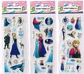Hojas Pegatinas 24 Ideal Para Bolsas Fiesta Frozen Elsa Con ...