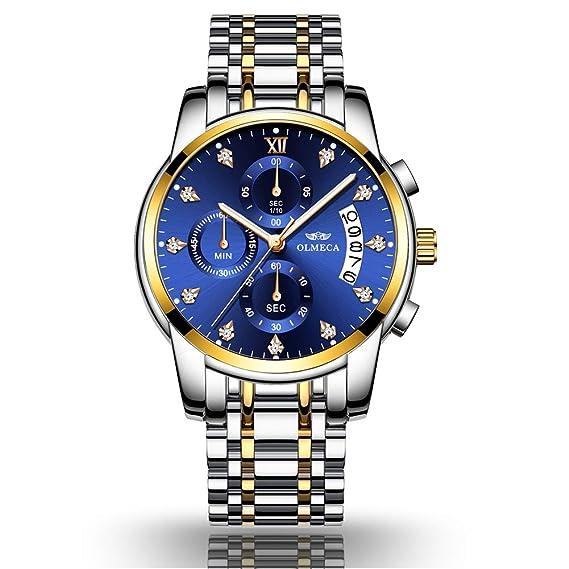 Reloj de Hombre, Acero Inoxidable, Reloj de Cuarzo Impermeable, Estilo Casual de Negocios.