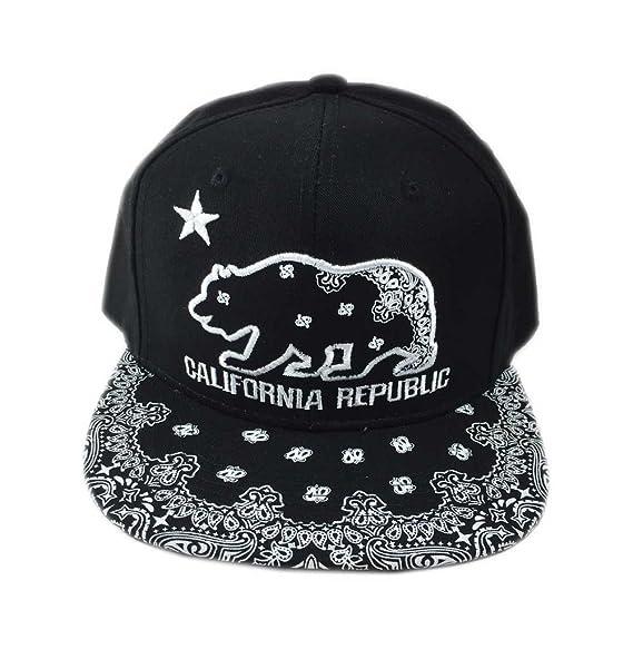 c33c17be3e5 Aesthetinc California Republic Cali Bear Cap Hat Snapback with Paisley  Bandana Print (Black)