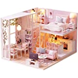 CUTEBEE Dollhouse Miniature Furniture, DIY Wooden DollHouse Kit Plus Dust Proof Music Movement, 1:24 Scale Creative Room Idea (Tranquil Life)