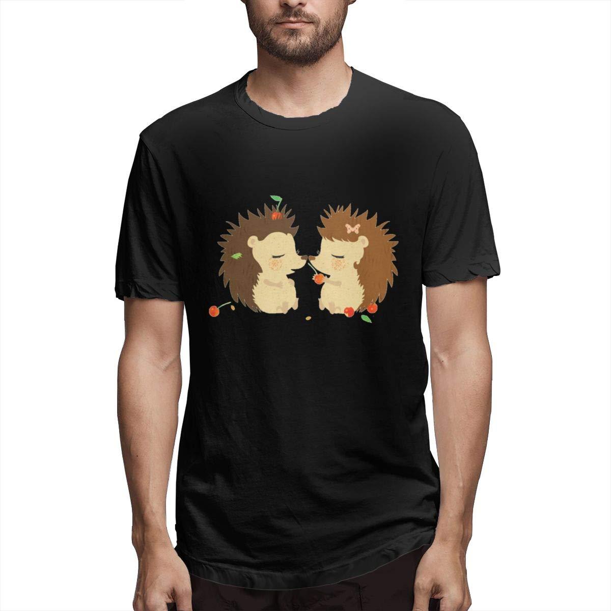 Luxendary Mens Logo Hedgehog Love Summer Sports Round Neck Short Sleeve Shirt