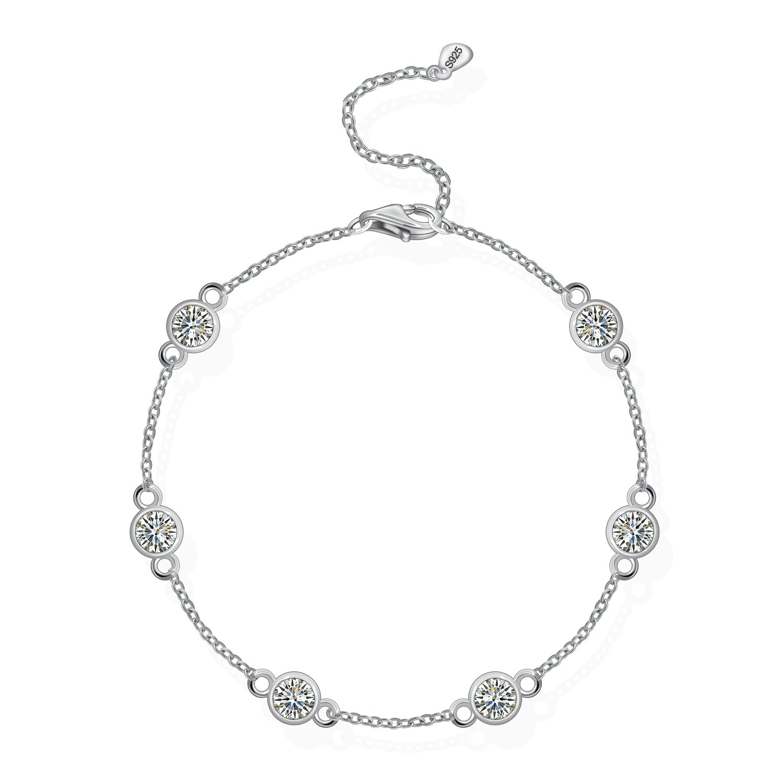 MONBO Sterling Silver Yard Stations Bracelet Cubic Zirconia CZ By the Yard Station Bracelet for Women (White Gold)
