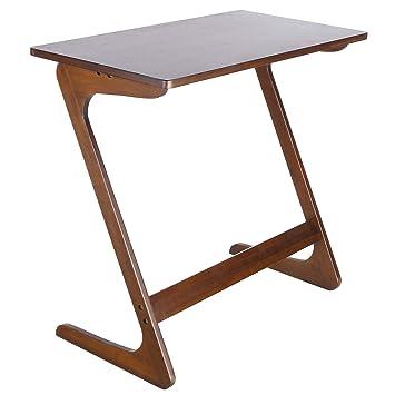 Homfa Mesa Para Sofa Mesa Auxiliar Mesa De Bambu Para Ordenador Mesa De Cafe Mesa De Escritorio Mesa Para Ordenador Castana