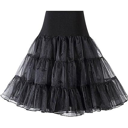 iShine Mujeres Cancan 50s Retro Rockabilly Enaguas Miriñaques Corta Faldas Negro
