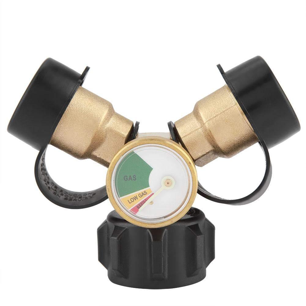 Propangasanschluss Campingkocher und Propangastank Messing BBQ Propangasadapter Anschluss Y-Splitter T-Adapter Mit Tankmanometer Druckmesser f/ür BBQ