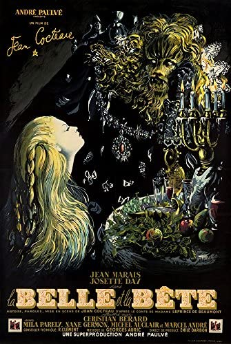 """Amazon.com: Digital Fusion Prints Beauty and The Beast (1946 Jean Cocteau,  French) Movie Poster 24"""" x 36"""" (Unframed) Printed with 200 Year Lifespan  Archival Inks: Posters & Prints"""