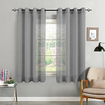 TOPICK Grau Kurze Gardinen Vorhang für Wohnzimmer transparent mit Ösen  Ösenschal dekoschal Voile 175 x 140 cm (H x B) 2er Set