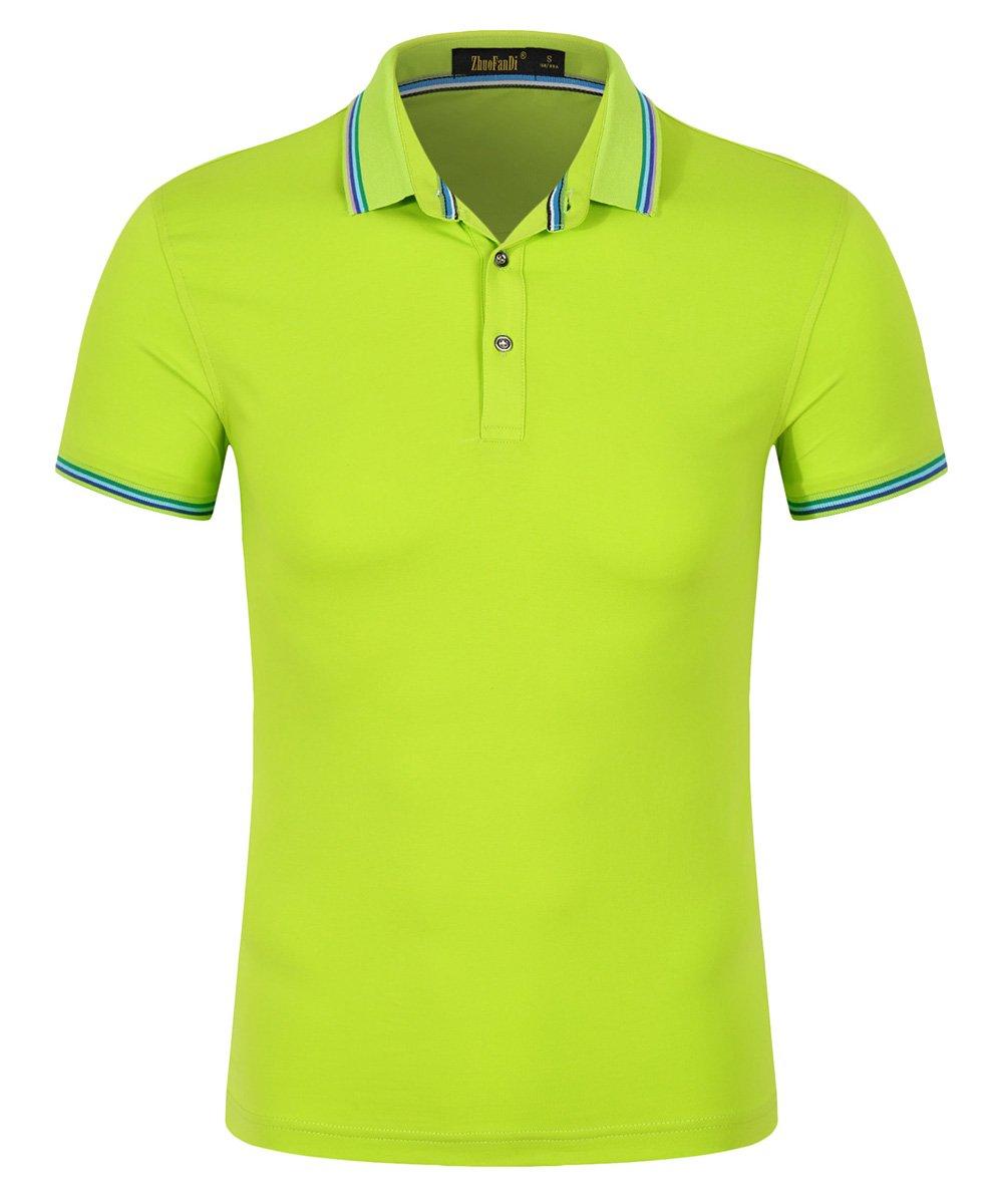 Mitario Femiego Women Classic Stripe Collar Slim Fit Short Sleeves Golf Performance Polo Shirt Fluorescent Green XXS
