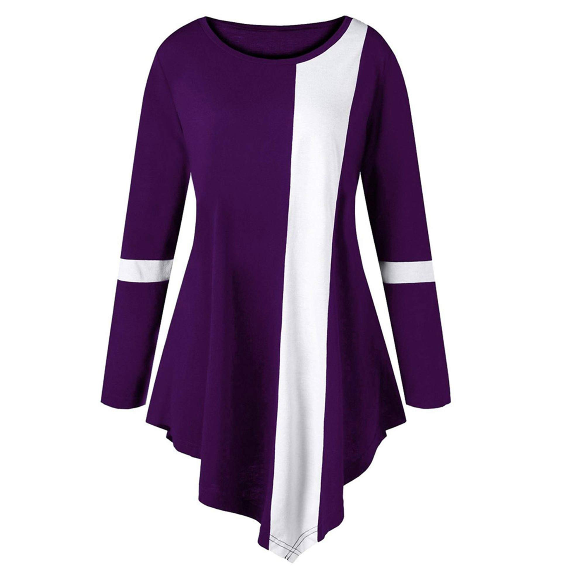 SMALLE ◕‿◕ Women's Long Sleeves Scoop Neck Dressy Tunic Shirts Two Tone Color Block Tops Asymmetric Pullover