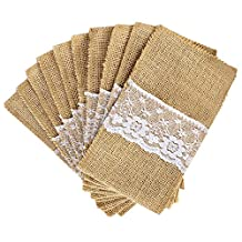 OurWarm 50 Pack 4 x 8 Inch Natural Burlap Utensil Holders Knifes Forks Bag Cutlery Pouch Party Bridal Shower Wedding Tableware Bags Favor