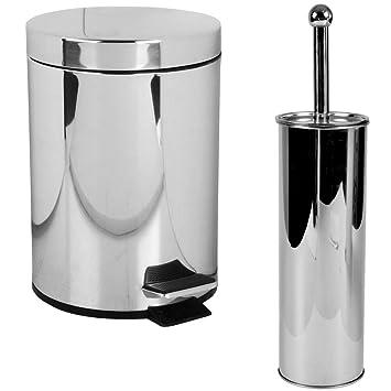 Promobo – Set WC acero inoxidable papelera y escobilla WC de ...