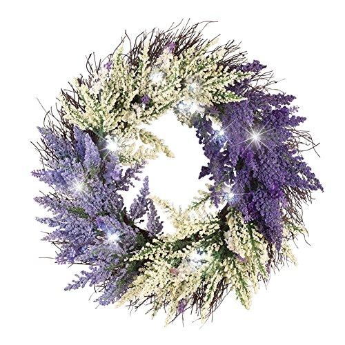 "Lighted Bicolor Lavender Twig 18"" Pre-Lit Wreath, Purple"