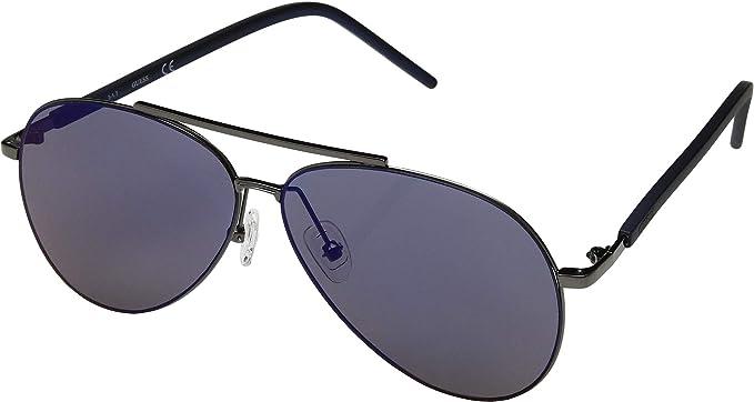 670b5d9d4 Amazon.com: GUESS Men's GF0175 Shiny Gunmetal/Blue Mirror One Size ...