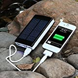 10000mAh Solar Charger Portable Dual USB Shockproof Solar Power Bank/ Backup Battery Charger; Solar Powered Phone Charger for iPhone iPod iPad Samsung HTC Blackberry and GPS Tablets Camera (Black)