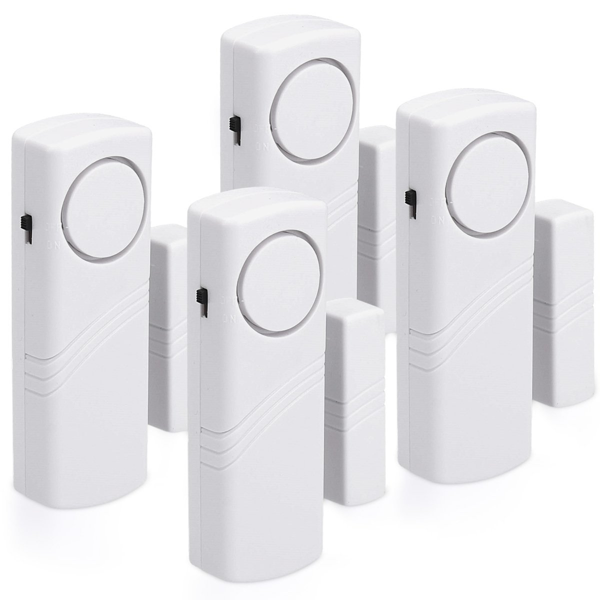 kwmobile door and window alarmset - 4 set of acoustic burglar alarms including batteries - wireless alarm system - 100dB volume - Home Security