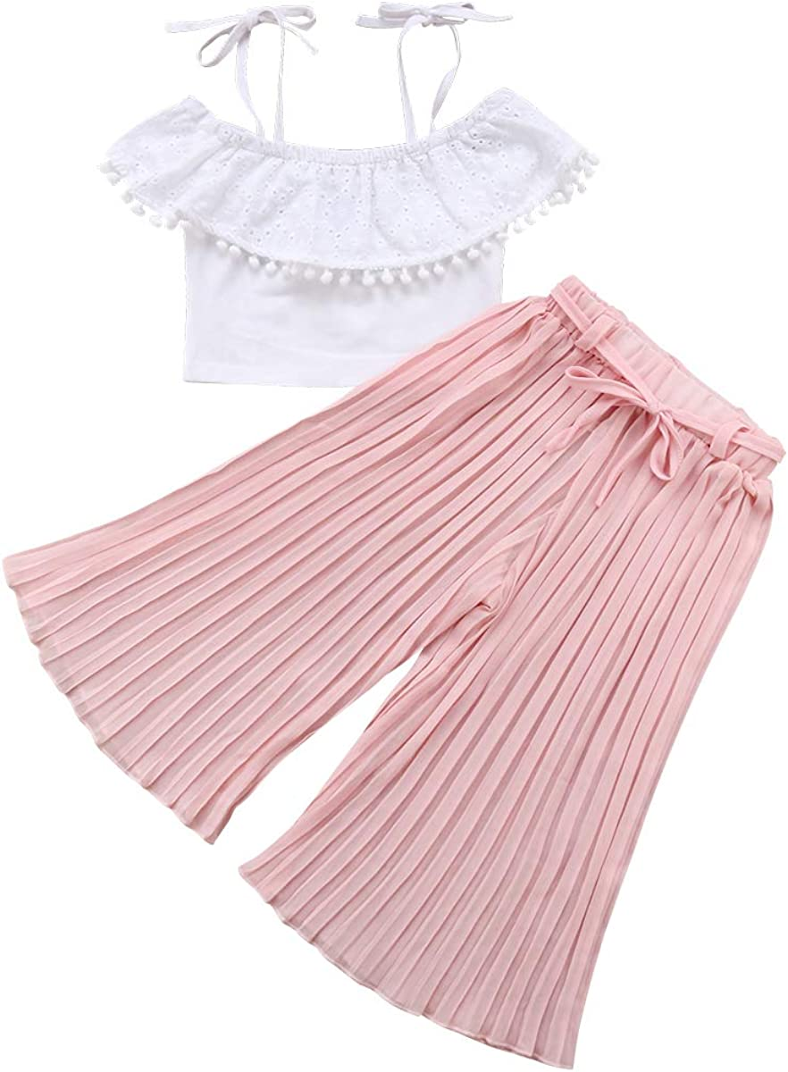 Toddler Baby Girl Off Shoulder Outfits Halter Ruffle Tops + Pleated Wide Leg Long Pants Summer Clothes Set