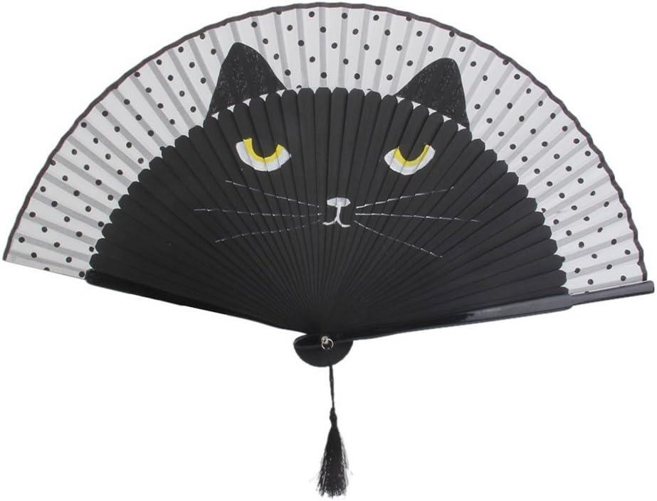 Coffee Mobestech Summer Cartoon Cat Folding Silk FanBamboo Hand Holding Fans para Regalos Mujer Handheld Fan