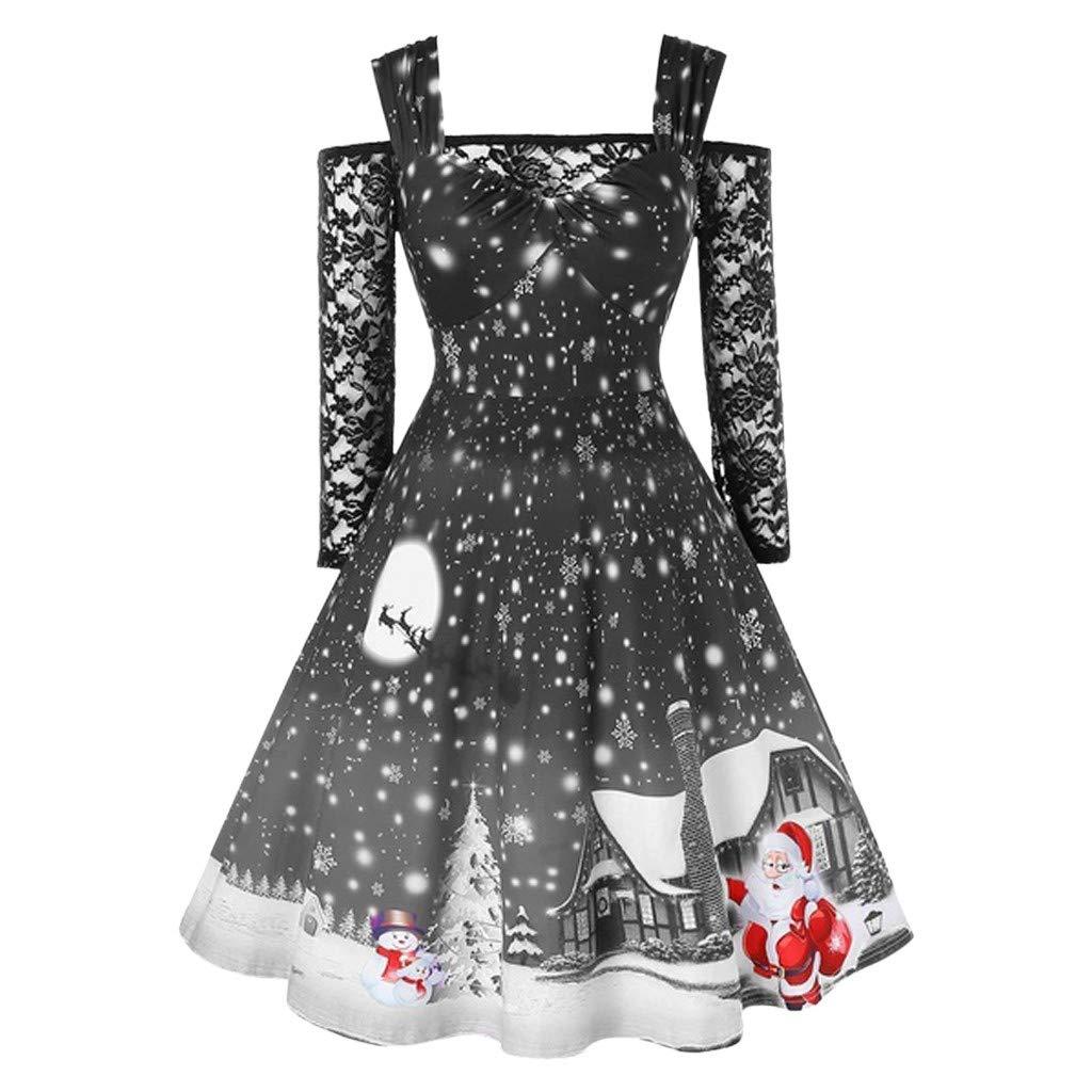 Donna Vestiti di Natale Lunga Maniche Abito Natale Vestito da Donna Stampa Natalizio Midi Abito Elegante Vintage Abiti da Santa Natale Vestito di Festa Donna Vestito di Natale delle Donne Weant10265