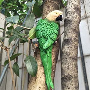 Gishima Parrot Figurine Home Garden Wall Decor Sculpture Wall Hanging Macaw Decoration