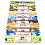 Indian Arts Satya Incense Set B 12x15gram Nag, Super Hit, Om Shanti, Oodh, Positive Vibes, Namaste, Champa, Opium, Reiki, Spiritual Healing, Karma, Traditional Ayurveda, Series 3, 12 x 15 g