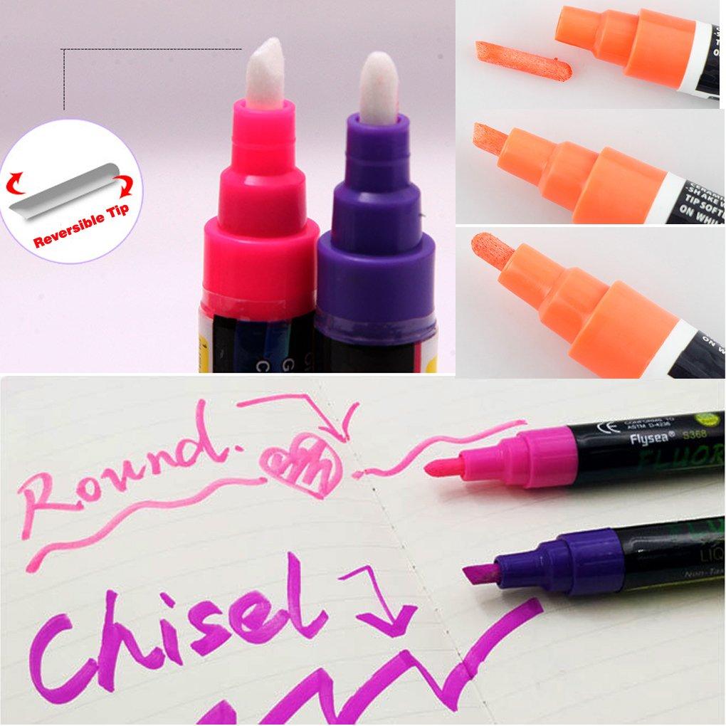 Rotuladores de tiza líquida, sayeec 8 unidades, 6 mm, punta, varios colores liquild tiza rotuladores subrayadores fluorescentes para Pop Art/AD ...