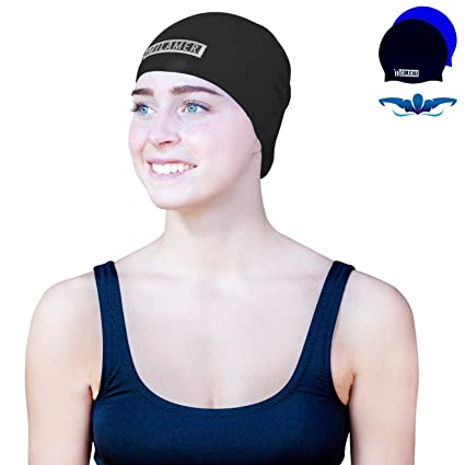 b400bfb349b Milamer Swim Cap for Adult Men Women, Waterproof Solid Silicone Caps Long  Hair Keep Dry Comfortable Swimming Cap, Designed Swimmers Long, Thick, ...
