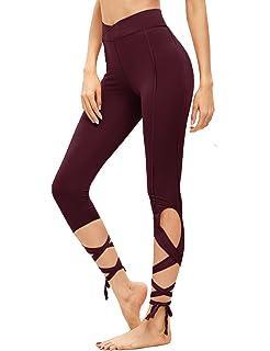 49c311c4eed9d SweatyRocks Women Legging Cutout Tie Cuff Slim Yoga Pants Jogger Workout  Tights